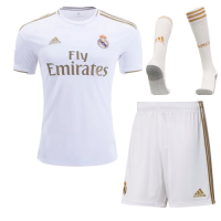 19-20 Real Madrid Home White Soccer Jerseys Kit(Shirt+Short+Socks)