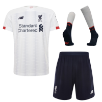 19-20 Liverpool Away White Soccer Jerseys Kit(Shirt+Short+Socks)