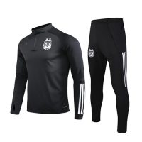 2020 Argentina Black Zipper Sweat Shirt Kit(Top+Trouser)