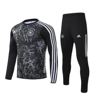 2020 Germany Black Navy O-Neck Sweat Shirt Kit(Top+Trouser)