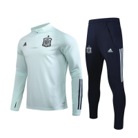 2020 Spain Light Green Zipper Sweat Shirt Kit(Top+Trouser)