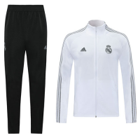 20/21 Real Madrid White High Neck Collar Training Kit(Jacket+Trouser)