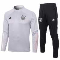 2020 Germany Gray Zipper Sweat Shirt Kit(Top+Trouser)