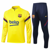 20/21 Barcelona Fluorescent Yellow Zipper Sweat Shirt Kit(Top+Trouser)