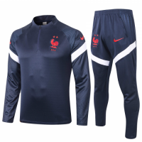 2020 France Navy Zipper Sweat Shirt Kit(Top+Trouser)