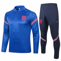 2020 England Blue Zipper Sweat Shirt Kit(Top+Trouser)