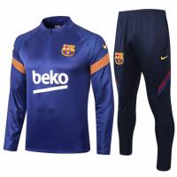 20/21 Barcelona Blue Zipper Sweat Shirt Kit(Top+Trouser)