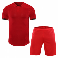 Portugal Style Customize Team Red Soccer Jerseys Kit(Shirt+Short)