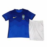 2020 Brazil Away Blue Children's Jerseys Kit(Shirt+Short)