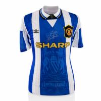 94/95 Manchester United Third Away Blue&White Retro Jerseys Shirt