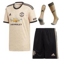 19/20 Manchester United Away Khaki Jerseys Whole Kit(Shirt+Short+Socks)
