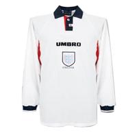 1998 World Cup England Home White Retro Long Sleeve Jerseys Shirt