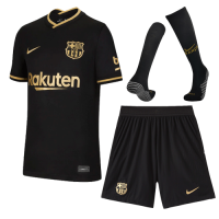 20/21 Barcelona Away Black Soccer Jerseys Whole Kit(Shirt+Short+Socks)