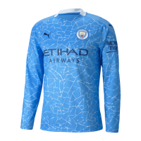 20/21 Manchester City Home Blue Long Sleeve Jerseys Shirt