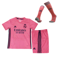 20/21 Real Madrid Away Pink Children's Jerseys Whole Kit(Shirt+Short+Socks)