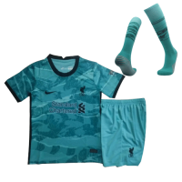 20/21 Liverpool Away Green Children's Jerseys Whole Kit(Shirt+Short+Socks)