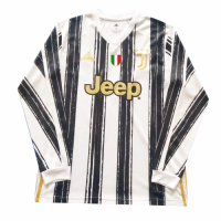 20/21 Juventus Home Black&White Long Sleeve Soccer Jerseys Shirt