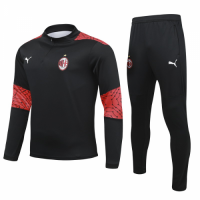 20/21 AC Milan Black Zipper Sweat Shirt Kit(Top+Trouser)