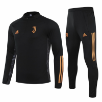20/21 Juventus Black Zipper Sweat Shirt Kit(Top+Trouser)
