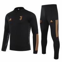 20/21 Juventus Black Zipper Sweat Shirt Kit(Top+Trouser)