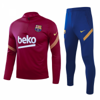 20/21 Barcelona Dark Red Zipper Sweat Shirt Kit(Top+Trouser)