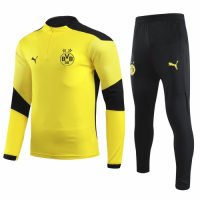 20/21 Borussia Dortmund Yellow Zipper Sweat Shirt Kit(Top+Trouser)