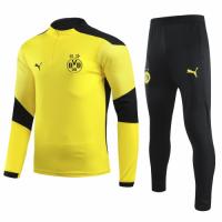20/21 Borussia Dortmund Yellow Zipper Sweat Shirt Kit(Top+Trouser)