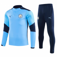 20/21 Manchester City Light Blue Zipper Sweat Shirt Kit(Top+Trouser)