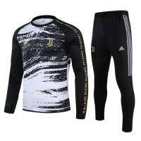 20/21 Juventus Black&White Zipper Sweat Shirt Kit(Top+Trouser)