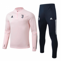 20/21 Juventus Pink Zipper Sweat Shirt Kit(Top+Trouser)