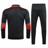 20/21 AC Milan Black Zipper Sweat Shirt Kit(Top+Trouser)