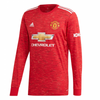 20/21 Manchester United Home Red Long Sleeve Jerseys Shirt