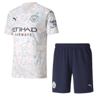 20/21 Manchester City Third Away White Jerseys Kit(Shirt+Short)