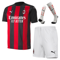 20/21 AC Milan Home Black&Red Soccer Jerseys Whole Kit(Shirt+Short+Socks)