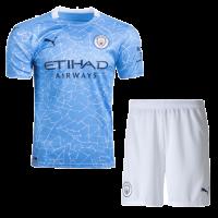 20/21 Manchester City Home Blue Jerseys Kit(Shirt+Short)