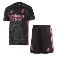 20/21 Real Madrid Third Away Black Soccer Jerseys Kit(Shirt+Short)