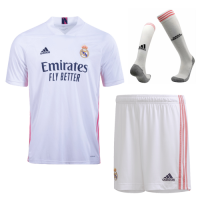 20/21 Real Madrid Home White Soccer Jerseys Whole Kit(Shirt+Short+Socks)