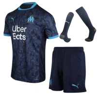 20/21 Marseille Away Navy Jerseys Whole Kit(Shirt+Short+Socks)