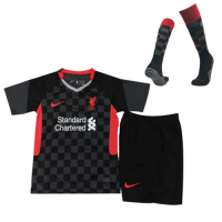 20/21 Liverpool Third Away Black Children's Jerseys Whole Kit(Shirt+Short+Socks)