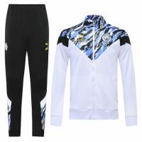 20/21 Manchester City White High Neck Collar Training Kit(Jacket+Trouser)
