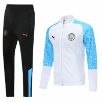 20/21 Manchester City White&Blue High Neck Collar Training Kit(Jacket+Trouser)
