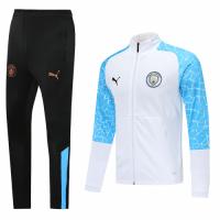20/21 Manchester City White&Blue High Neck Collar Training Kit(Jacket+Trouser)