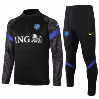 2020 Netherlands Black Zipper Sweat Shirt Kit(Top+Trouser)