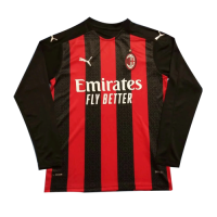 20/21 AC Milan Home Red&Black Long Sleeve Jerseys Shirt