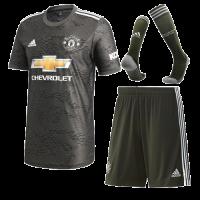 20/21 Manchester United Away Black Jerseys Whole Kit(Shirt+Short+Socks)
