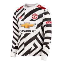20/21 Manchester United Third Away White Long Sleeve Jerseys Shirt