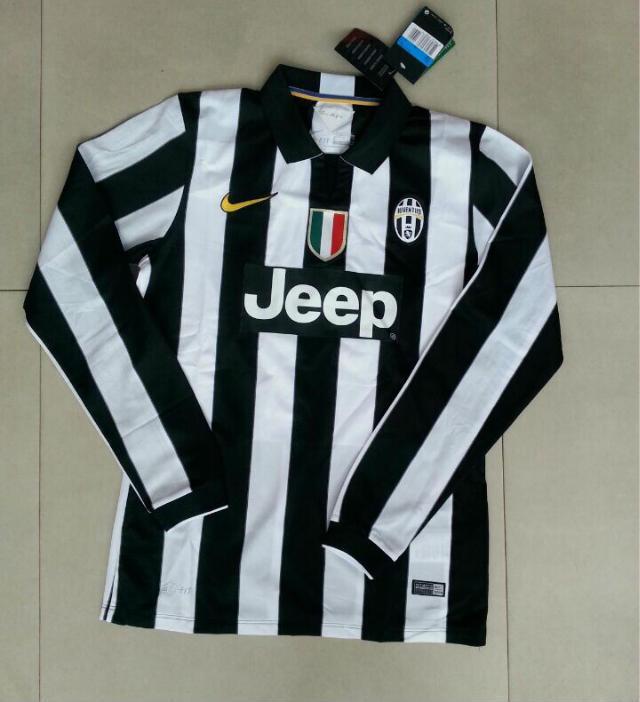 promo code a2285 cb5f5 14-15 Juventus Home Long Sleeve Jersey Shirt