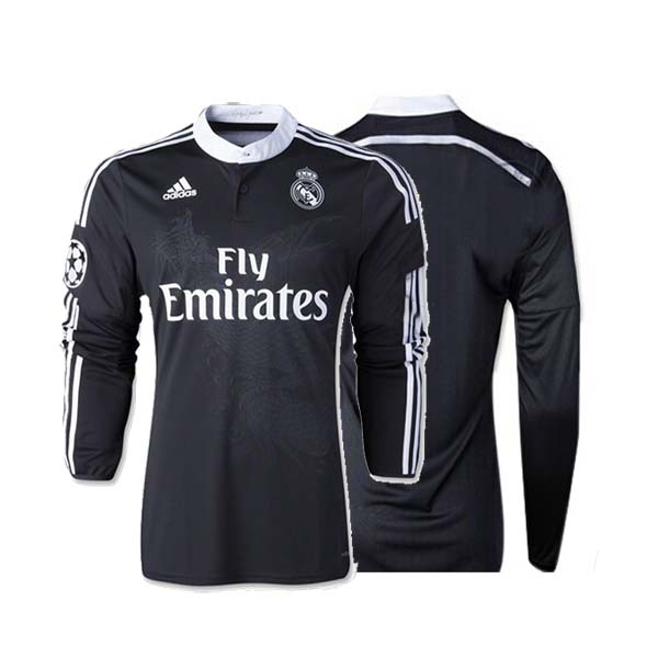 new product f6365 47ecb 14-15 Real Madrid Away black Long Sleeve Jersey Shirt