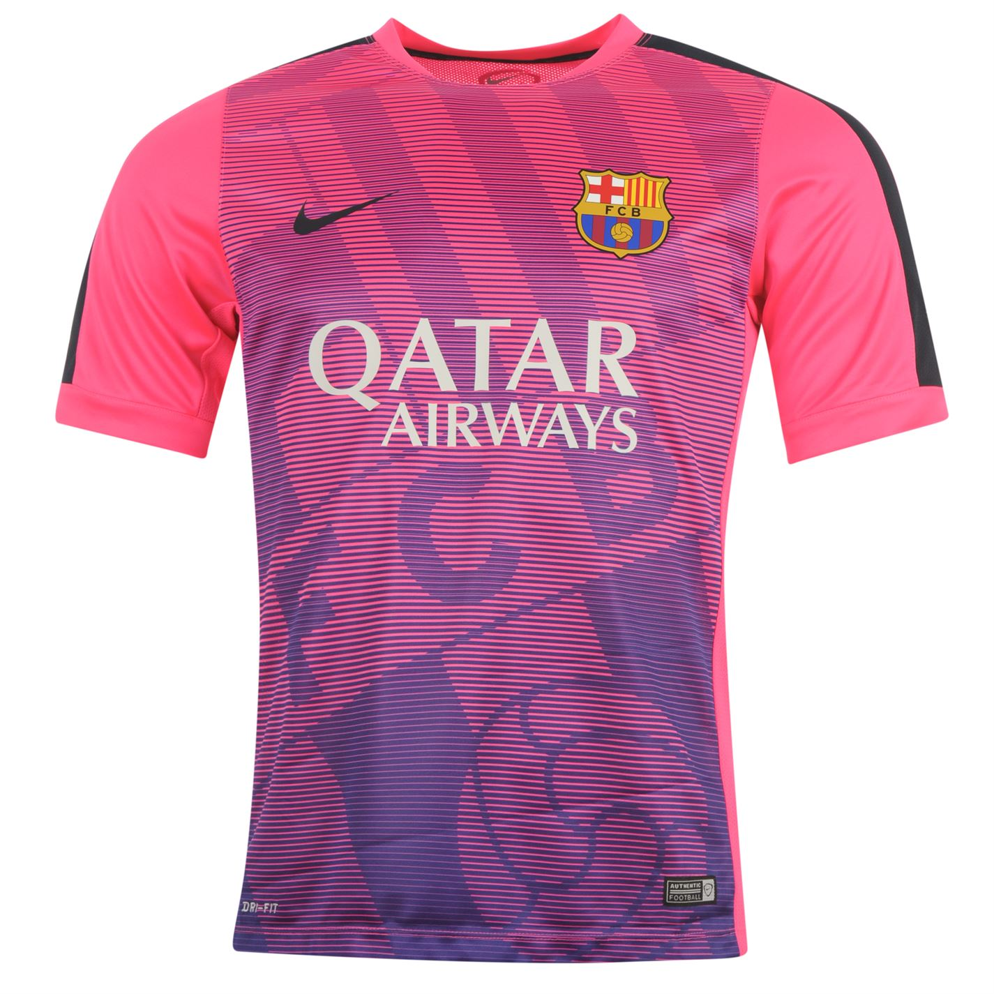 reputable site 17383 eb079 2015 Barcelona Pre-Match Pink Training Soccer Jersey Shirt