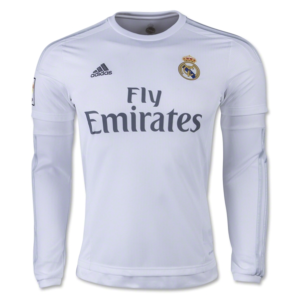 purchase cheap e744e 67c42 15-16 Real Madrid Home Long Sleeve Soccer Jersey Shirt